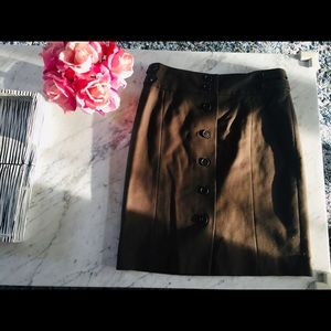 Loft Chocolate Brown Skirt with Buttons size 4P